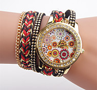 Women's Fashion Watch Simulated Diamond Watch Quartz Fabric Band Casual Black Blue Red Green Yellow Rose Strap Watch