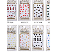 8PCS BZ 3D Nail art Gem Paragraph Bring Back Glue Directly Stick Nail Stickers 01-08