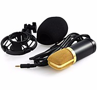 BM-700 Condenser Sound Recording Microphone 3.5mm Unidirectional Pattern White Microfone With Shock Mount
