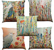 Set of 5 Hand painted oil painting plants Pattern  Linen Pillowcase Sofa Home Decor Cushion Cover (18*18inch)