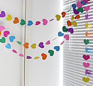 RayLineDo® 1 Piece 4 Metres Multi Color Paper Garland For Wedding Birthday Anniversary Party Christmas Girls Room Decoration Heart Shape 7*7CM
