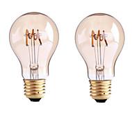 4W B22 E26/E27 Bombillas de Filamento LED G60 1 COB 400 lm Blanco Cálido Regulable AC 100-240 AC 110-130 V 2 piezas