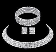 Cristal Brillante Legierung Plata 1 Collar 1 Par de Pendientes 1 Brazalete Para Boda Fiesta Casual 1 Set Regalos de boda