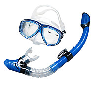 Snorkeling Packages Snorkels Swim Mask Goggle Snorkel Set Diving Masks Dry Top Diving / Snorkeling silicone Glass Blue Black Yellow-SBART