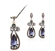Jewelry Set Gemstone Resin Rhinestone Gold Plated Simulated Diamond Alloy Vintage Bohemian Jewelry Red Green Blue Jewelry setParty