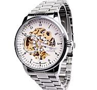Da uomo orologio meccanico Carica automatica Orologi con incisioni Quadrante grande Acciaio inossidabile Banda Casual Argento Argento