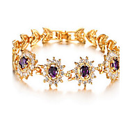 Bracelet Chain Bracelet Alloy Zircon Others Fashion Birthday Gift Valentine Christmas Gifts Jewelry Gift Gold Purple,1pc