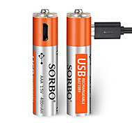 SORBO AAA Lithium Rechargeable Battery 5V 400mAh 2 Pack USB