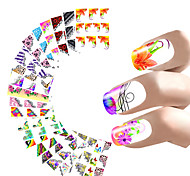 11 Style Nail Sticker French Manicure Water Decals Half Nail Wraps Flower Butterfly Peacock Leopard Pattern For Nails Art Design