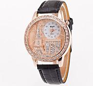 Mujer Reloj Deportivo Reloj de Vestir Reloj de Moda Reloj de Pulsera Simulado Diamante Reloj Cuarzo Esfera Grande Piel Banda Encanto