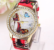 Women's Fashion Watch Simulated Diamond Watch Imitation Diamond Quartz Leather Band Butterfly CasualBlack White Blue Red Brown Green Pink