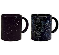 Heat Sensitive Color-changing Drinkware, 360 ml Constellation Pattern Gift Ceramic Coffee Mug