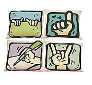 Set of 4 Creative gesture Linen Pillowcase Sofa Home Decor Cushion Cover