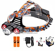 U'King® ZQ-X814R#5-EU Three Head 1*T6/2*XPE 5000LM Zoomable Multifunction 4Modes Headlamp Bike Light Kits with Safety Rear LED