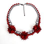 Women's Strands Necklaces Jewelry Gemstone Gem Alloy Jewelry Flower Style Fashion Personalized Euramerican Luxury Jewelry Red Pink Jewelry