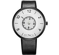 Men's Fashion Watch Quartz Genuine Leather Band Black White Black Black/Silver