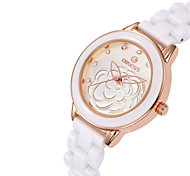 Fashion Watch Quartz Ceramic Band White Rose Gold