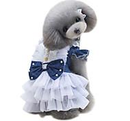 Dog Dress Dog Clothes Summer British Cute Fashion Classic Dark Blue Light Blue