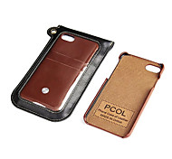 For Apple iPhone 7 Plus 7 Case Cover Card Holder Back Cover Solid Color Hard PU Leather
