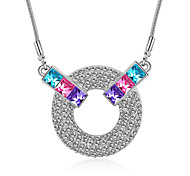 Women's Pendant Necklaces Crystal Chrome Euramerican Fashion Personalized Simple Style Light Green Light Blue Red Purple Dark Blue Jewelry