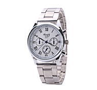 Men's Dress Watch Quartz Alloy Band Casual Silver