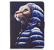 For Apple iPad Pro 9.7'' iPad Air 2 iPad Air Case Cover Cute Cat Pattern Painted Card Stent Wallet PU Skin Material Flat Protective Shell