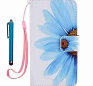 Für Case-Cover-Kartenhalter Brieftasche mit Stand-Flip-Muster Ganzkörper-Etui mit Stylus Blume hartes PU-Leder für Appleiphone 7 plus 7 6s
