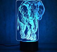 Рождественский слон касание затемнения 3d привело ночь свет 7colorful украшения атмосферу лампа новизны освещения рождественские света