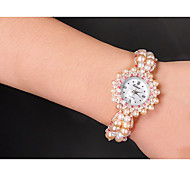 Women's Fashion Watch Quartz Pearl Band Pink