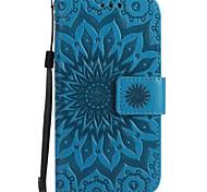 Назначение Чехлы панели Кошелек Бумажник для карт со стендом Флип Рельефный Чехол Кейс для Цветы Твердый Искусственная кожа для SamsungJ7