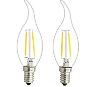 2PCS 3W E12/E14  LED  Filament Bulbs C35 2 COB 300 lm Warm White Dimmable AC 220-240 AC 110-130 V
