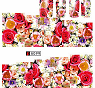 10pcs/set Hot Sale Nail Beauty Romantic Style Nail Art Sticker Beautiful Rose Colorful Flower Design Water Transfer Decals Sweet Flower Design A099
