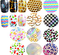 1pcs Nail Art Transfer Foils Beautiful Flower Butterfly Cute Cherry Laser Design Manicure Polish Glue Transfer Foils Sticker Nail Beauty STZXK31-40