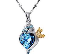 Women's Pendant Necklaces Crystal Heart Chrome Unique Design Personalized Light Blue Jewelry For Graduation Gift 1pc