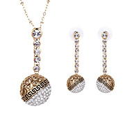 Women Wedding Bridal Round Diamond Ball Rhinestones Necklace Earrings Bracelet Clavicle Chain