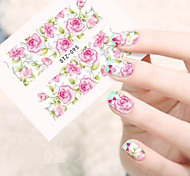10pcs/set Summer Hot Sale Beautiful Flower Pink Rose Design Nail Art Water Transfer Decals Nail Beauty Sticker DIY Beauty Decals STZ-095