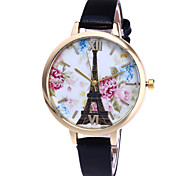 Women's Fashion Watch Wristwatch Quartz Multi-colored Eiffel Tower Pattern Dial Top Brand Leather Band Cool Casual Unqiue Watches Relogio Feminino