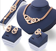 Jewelry Set Euramerican Alloy Round 1 Necklace 1 Pair of Earrings 1 Bracelet 1 Ring For Daily 1set Wedding Gifts