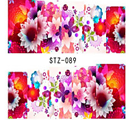 10pcs/set Beautiful Flower Design Nail Water Transfer Decals Nail Art DIY Beauty Sticker STZ-089