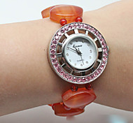 Damen Modeuhr Quartz Jäger grün Band Orange Orange
