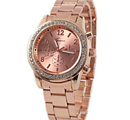 Women's Fashion Watch Simulated Diamond Watch Quartz Rose Gold Plated Alloy Band Casual Silver Rose Gold