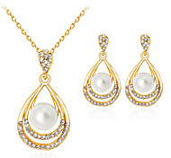 Lucky Doll Jewelry Set Fashion Classic Imitation Pearl Rhinestone Gold Plated Alloy Drop 1 Necklace 1 Pair of Earrings ForParty Gift Daily Office &