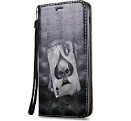 For Samsung Galaxy A7 A5 A3(2017) Case Cover Poker Skull Pattern 3D Painted Relief Super Strong Magnetic Adsorption PU Material Phone Case A5 A3(2016)