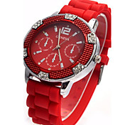 Women's Fashion Watch Simulated Diamond Watch Quartz Silicone Band Casual White Red Pink