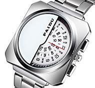 Men's Fashion Watch Quartz Alloy Band Black Silver