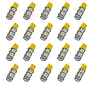 20Pcs T10 9*5050 SMD LED Car Light Bulb Yellow Light DC12V
