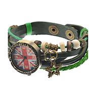 Women's Bracelet Watch Quartz Leather Band Black Green