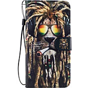 For Samsung Galaxy S8 Plus S8 Case Cover Lion Pattern Painted Card Stent PU Material Phone Case S7 Edge S7 S6 S5