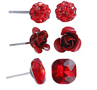 3 Pairs Red in Rhinestones Crystal Ball Iron Rose Square Gemstone Stud Earrings Set