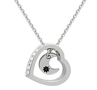 Love Hearth Moon Long Pendant Sweater Chain Necklace Adjustable Dangling Gifts for the Party Women Jewelry